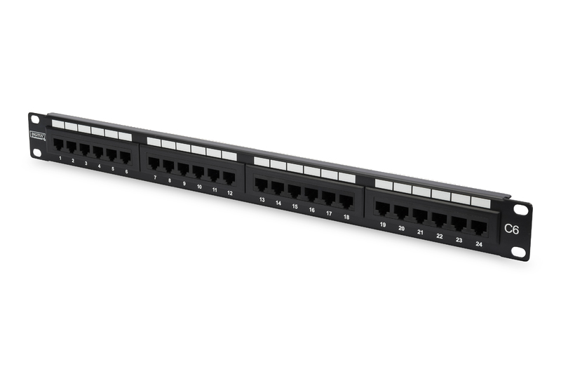 CAT 6, Class E Patch Panel, unshielded 24-port RJ45, 8P8C, LSA, 1U, rack mount, color black RAL 9005
