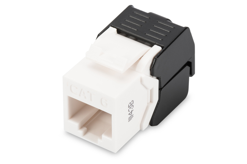 CAT 6 Keystone Jack, unshielded RJ45 to LSA, tool free connection, incl. cable tie