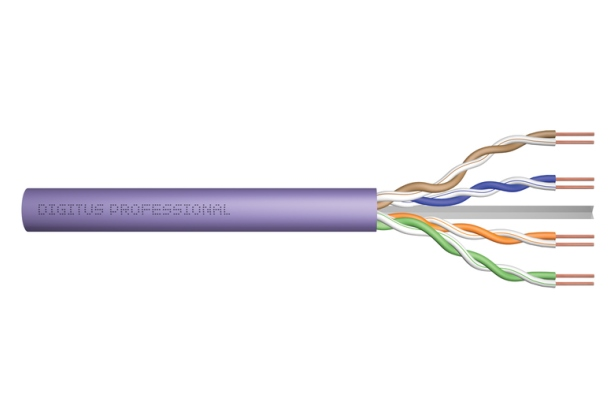 CAT 6 U-UTP installation cable, raw Length 500m, Drum, LSOH, AWG23, Simplex Color purple