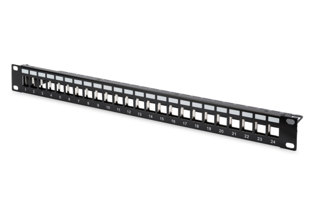 Modular Patch Panel, shielded 24-port, blank, 1U, rack mount, RAL 9005 black